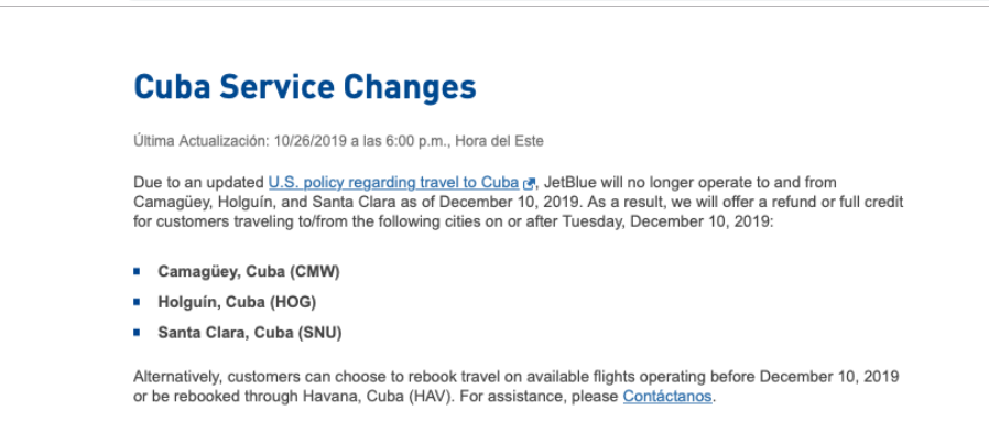 comunicado de Jetblue