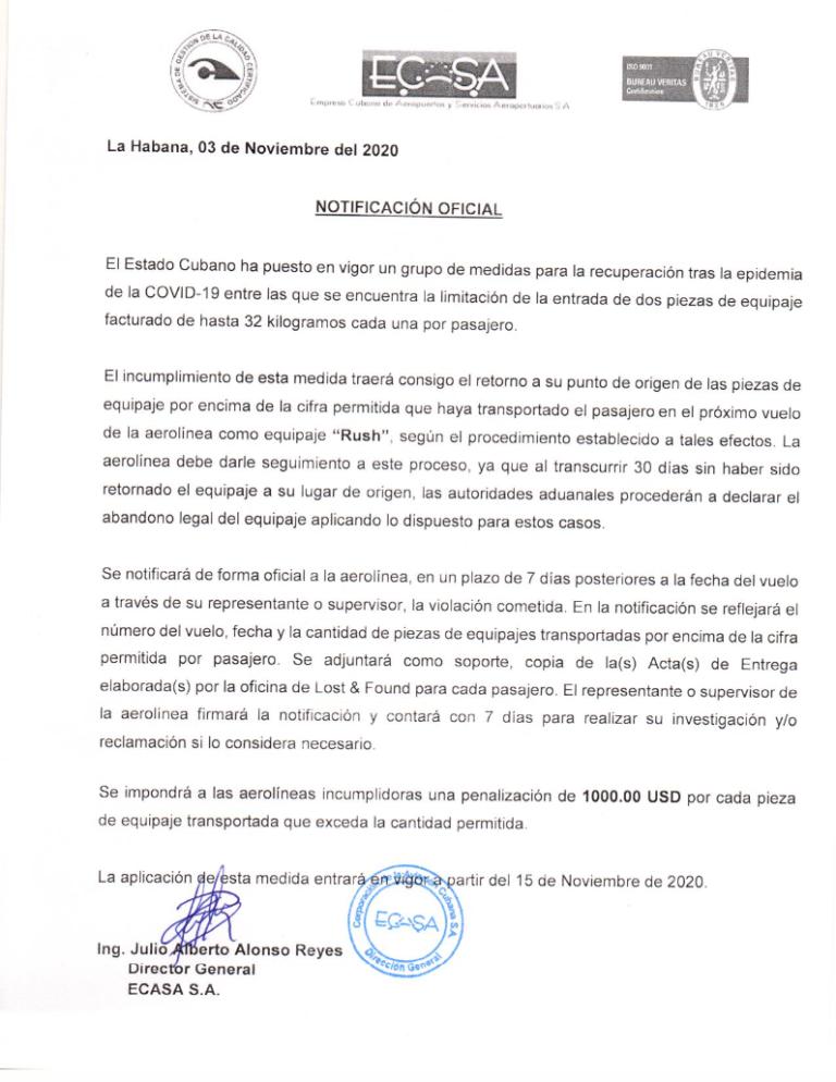 ECASA Cuba Aduana